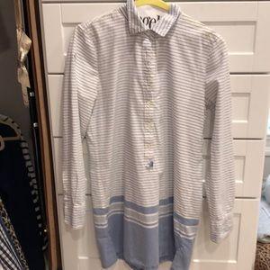 J crew coverup xs blue white stripe cotton
